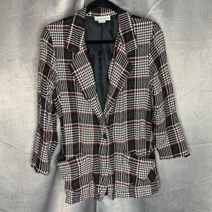 VINTAGE RED BLACK WHITE PLAID BLAZER JACKET